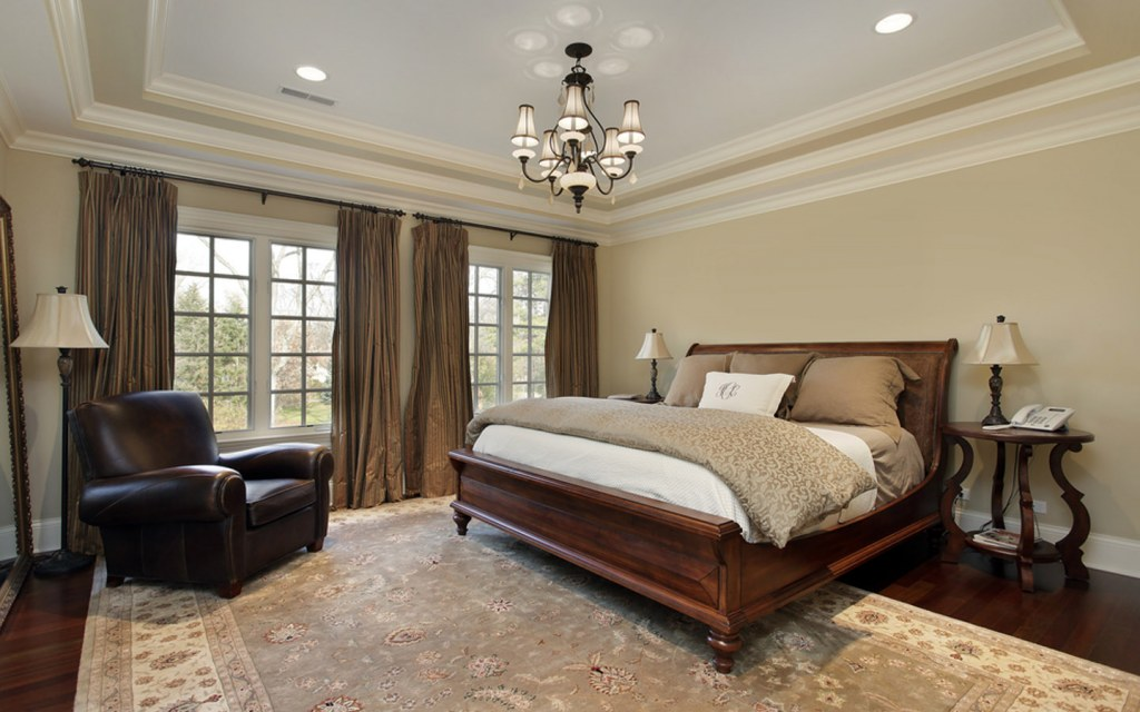 Place a decorative rug on the floor for luxurious bedroom decor